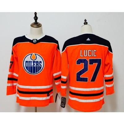 NHL Oilers 27 Milan Lucic Orange Adidas Women Jersey