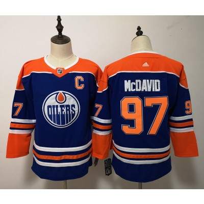 NHL Oilers 97 Connor McDavid Blue Alternate Adidas Women Jersey