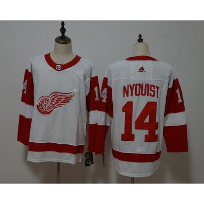 NHL Wings 14 Gustav Nyquist White Adidas Men Jersey