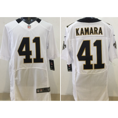 Nike NFL Saints 41 Alvin Kamara White Elite Men Jersey