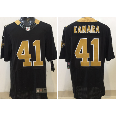 Nike NFL Saints 41 Alvin Kamara Home Black Elite Men Jersey