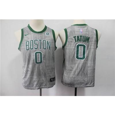 NBA Celtics 0 Jayson Tatum Gray City Edition Nike Youth Jersey