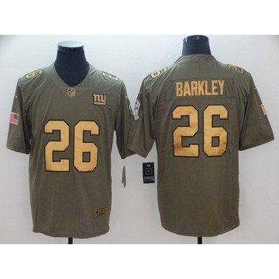 Nike Giants 26 Saquon Barkley Olive Gold Salute To Service Limited Men Jersey