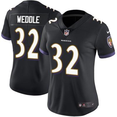 Nike Ravens 32 Eric Weddle Black Vapor Untouchable Limited Women Jersey