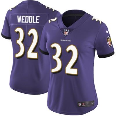 Nike Ravens 32 Eric Weddle Purple Vapor Untouchable Limited Women Jersey