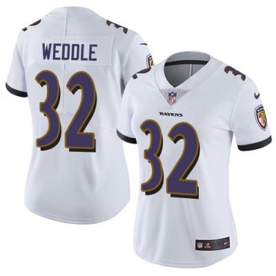 Nike Ravens 32 Eric Weddle White Vapor Untouchable Limited Women Jersey