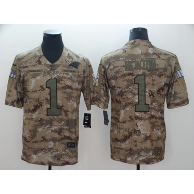 Nike Panthers 1 Cam Newton 2018 Camo Salute to Service Limited Men Jersey