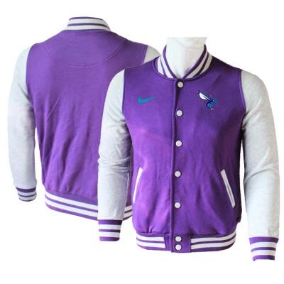 NBA Charlotte Hornets Blank Purple Grey Nike Wool Jacket