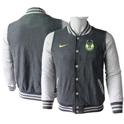 NBA Milwaukee Bucks Blank Dark Grey Nike Wool Jacket