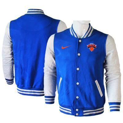 NBA New York Knicks Blank Blue Grey Nike Wool Jacket