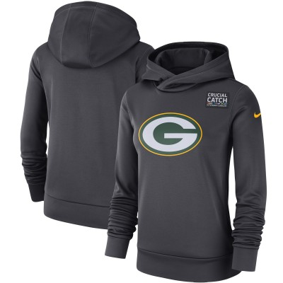 Nike Green Bay Packers Anthracite Crucial Catch Performance Women Pullover Hoodie