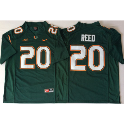 NCAA Miami Hurricanes 20 Ed Reed Green Men Jersey