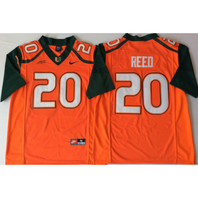 NCAA Miami Hurricanes 20 Ed Reed Orange Men Jersey