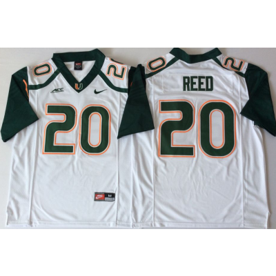 NCAA Miami Hurricanes 20 Ed Reed White Men Jersey