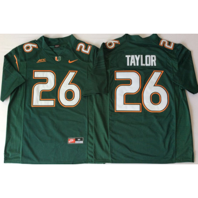 NCAA Miami Hurricanes 26 Sean Taylor Green Men Jersey