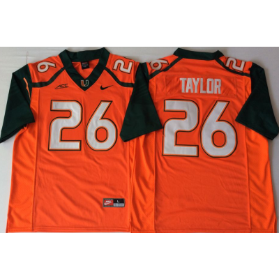NCAA Miami Hurricanes 26 Sean Taylor Orange Men Jersey