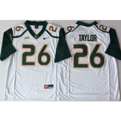 NCAA Miami Hurricanes 26 Sean Taylor White Men Jersey