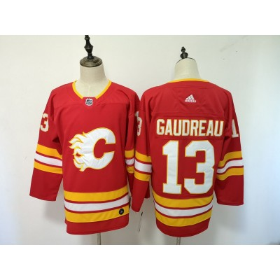 NHL Flames 13 Johnny Gaudreau Red Third Adidas Men Jersey