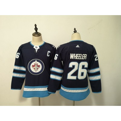 NHL Jets 26 Blake Wheeler Navy Adidas Youth Jersey
