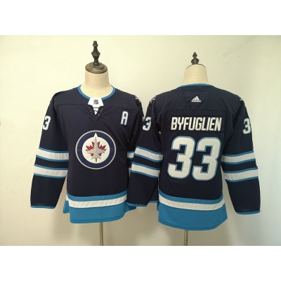 NHL Jets 33 Dustin Byfuglien Navy Adidas Youth Jersey
