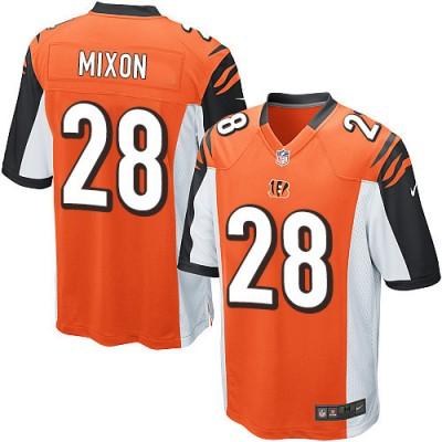 Nike Bengals 28 Joe Mixon Orange Elite Men Jersey