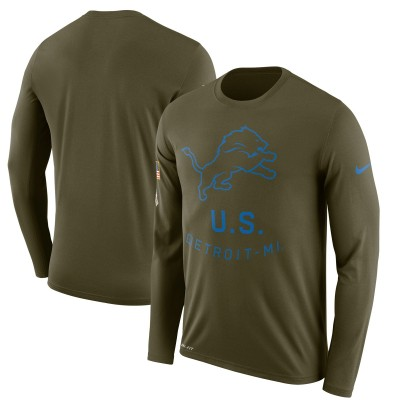 Nike Detroit Lions Olive Salute to Service Sideline Legend Performance Long Sleeve T-Shirt