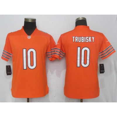 Nike Bears 10 Mitchell Trubisky Orange Vapor Untouchable Limited Women Jersey
