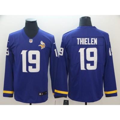 Nike Vikings 19 Adam Thielen Purple Long Sleeve Limited Men Jersey