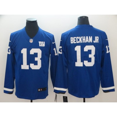 Nike Giants 13 Odell Beckham Jr. Blue Long Sleeve Limited Men Jersey