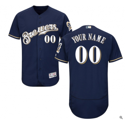 MLB Milwaukee Brewers FlexBase Navy Blue Customized Youth Jersey
