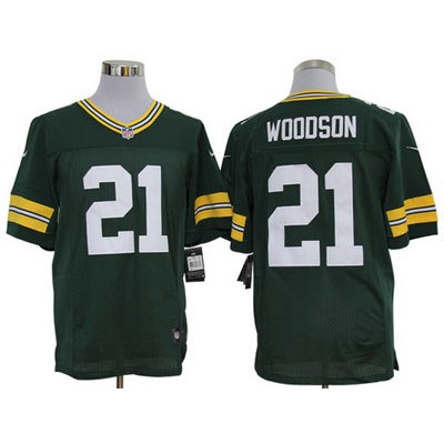 Nike Packers 21 Charles Woodson Green Elite Men Jersey