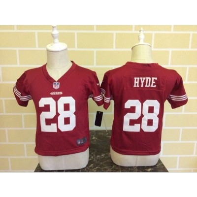 Nike 49ers 28 Carlos Hyde Red NFL Toddler Jersey