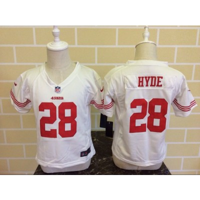 Nike 49ers 28 Carlos Hyde White NFL Toddler Jersey