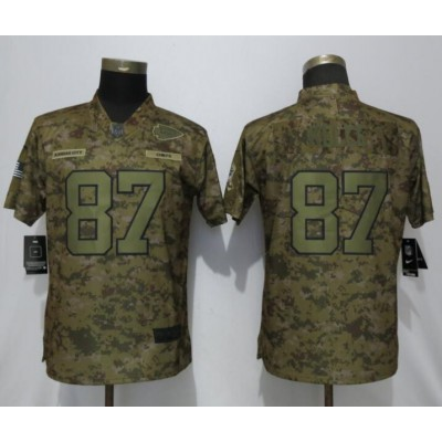 Nike Chiefs 87 Travis Kelce 2018 Camo Salute To Service Limited Women Jersey