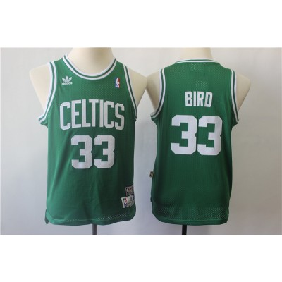 NBA Celtics 33 Larry Bird Green Hardwood Classics Youth Jersey