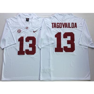 NCAA Alabama Crimson Tide 13 Tua Tagovailoa White Legend Limited Men Jersey