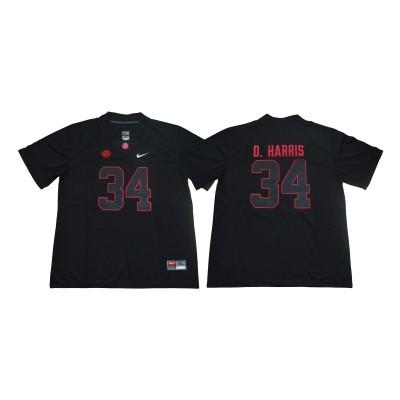 NCAA Alabama Crimson Tide 34 Damien Harris Black Shadow Legend Limited Men Jersey