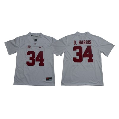 NCAA Alabama Crimson Tide 34 Damien Harris White Legend Limited Men Jersey