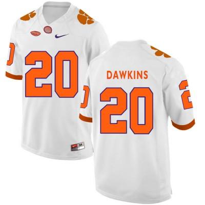 NCAA Clemson Tigers 20 Brian Dawkins White College Football Men Jersey