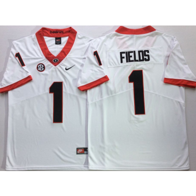 NCAA Georgia Bulldogs 1 Justin Fields White Legend Limited Men Jersey
