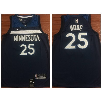 NBA Timberwolves 25 Derrick Rose Swingman Navy Nike Swingman Men Jersey