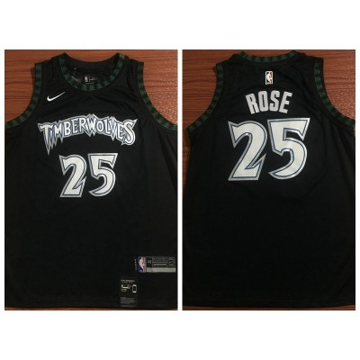 NBA Timberwolves 25 Derrick Rose Nike Black Hardwood Classics Men Jersey