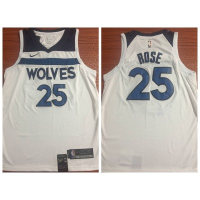 NBA Timberwolves 25 Derrick Rose Swingman White Nike Swingman Men Jersey