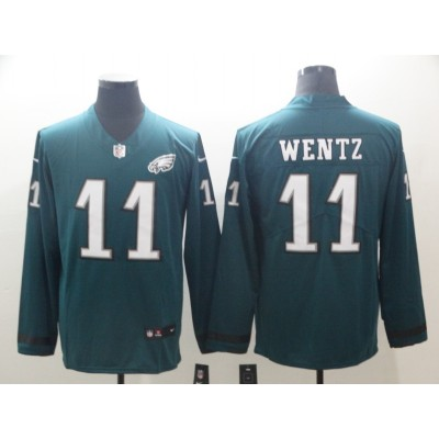 Nike Eagles 11 Carson Wentz Green Long Sleeve Limited Men Jersey