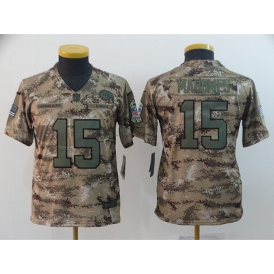 Nike Chiefs 15 Patrick Mahomes 2018 Camo  Salute To Service Limited Women Jersey