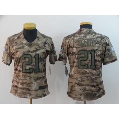 Nike Cowboys 21 Ezekiel Elliott 2018 Camo Salute To Service Limited Women Jersey