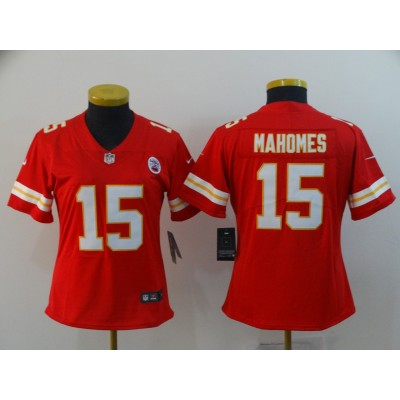 Nike Kansas City Chiefs 15 Patrick Mahomes Red Team Color Vapor Untouchable Limited Women Jersey