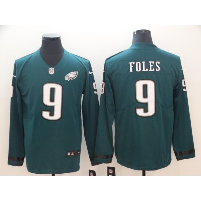 3f338be5a2c Nike Eagles 9 Nick Foles Green Long Sleeve Limited Men Jersey