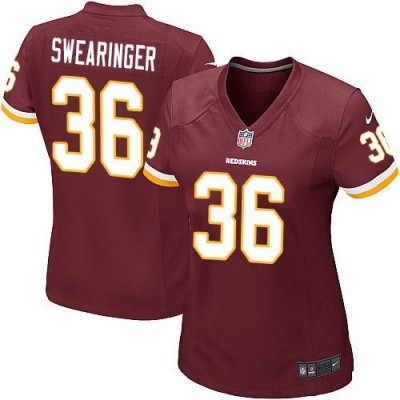Nike Redskins 36 D.J. Swearinger Burgundy Red Women Jersey