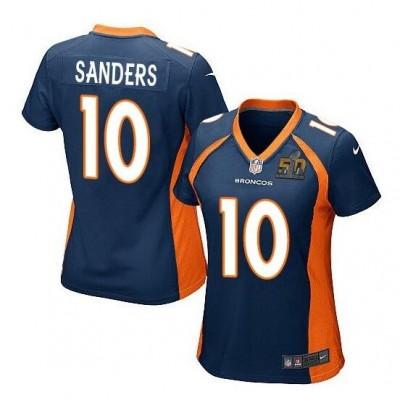 Nike Broncos 10 Emmanuel Sanders Blue Super Bowl 50 Game Women Jersey